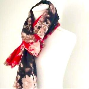 J Jill Floral Scarf - Frayed Wool Red Black Floral